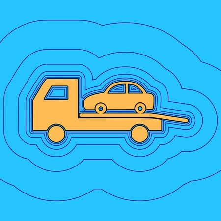 Tow car evacuation sign. Vector. Sand color icon with black contour and equidistant blue contours like field at sky blue background. Like waves on map - island in ocean or sea. 向量圖像