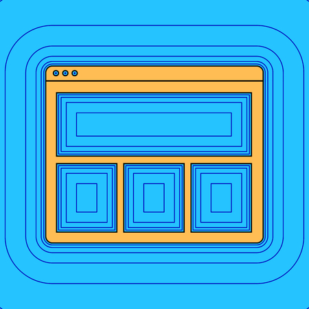 Web window sign. Vector. Sand color icon with black contour and equidistant blue contours like field at sky blue background.