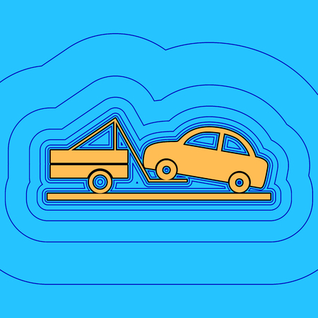 Tow truck sign. Vector. Sand color icon with black contour and equidistant blue contours like field at sky blue background. Like waves on map - island in ocean or sea. 向量圖像
