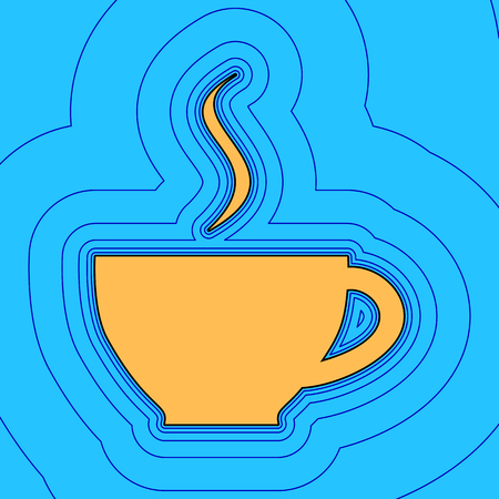Cup sign with one small stream of smoke. Vector. Sand color icon with black contour and equidistant blue contours like field at sky blue background.