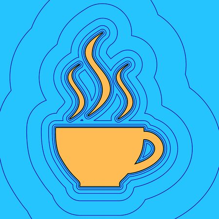 Cup sign with three small streams of smoke. Vector. Sand color icon with black contour and equidistant blue contours like field at sky blue background. Illustration