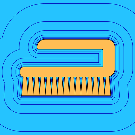 sirvientes: Cleaning brush hygiene tool sign. Vector. Sand color icon with black contour and equidistant blue contours like field at sky blue background.
