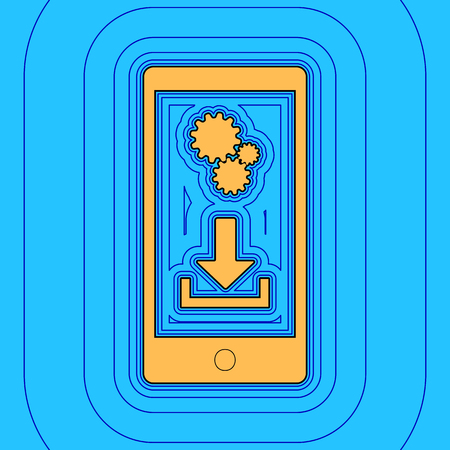 Phone settings. Download and install apps. Vector. Sand color icon with black contour and equidistant blue contours like field at sky blue background. 向量圖像