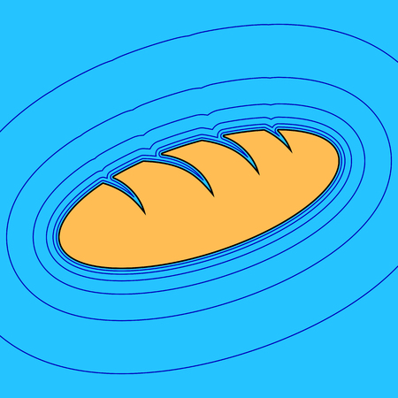 grain fields: Bread in cartoon drawn style, Sand color icon with black contour and equidistant blue contours