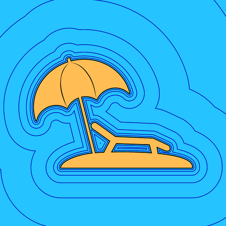 Sunbed Chair sign, Sand color icon with black contour and equidistant blue contours like field.