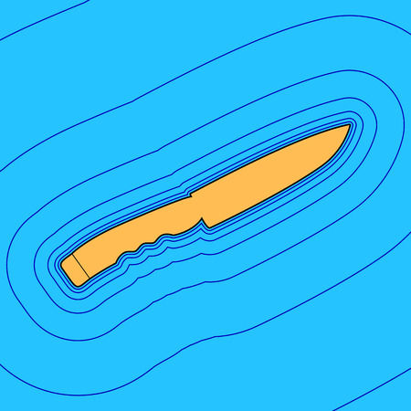 Knife sign. Vector. Sand color icon with black contour and equidistant blue contours like field at sky blue background. Like waves on map - island in ocean or sea. 向量圖像