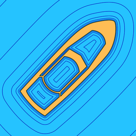 Boat sign. Vector. Sand color icon with black contour and equidistant blue contours like field at sky blue background.