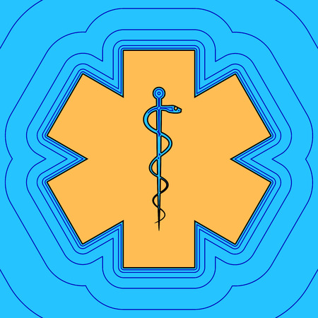 Medical symbol of the Emergency or Star of Life. Vector. Sand color icon with black contour and equidistant blue contours like field at sky blue background. Like waves on map - island in ocean or sea. 向量圖像