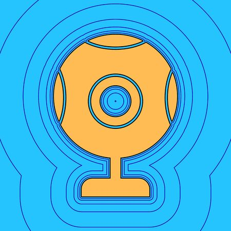 Chat web camera sign. Vector. Sand color icon with black contour and equidistant blue contours like field at sky blue background. Like waves on map - island in ocean or sea.