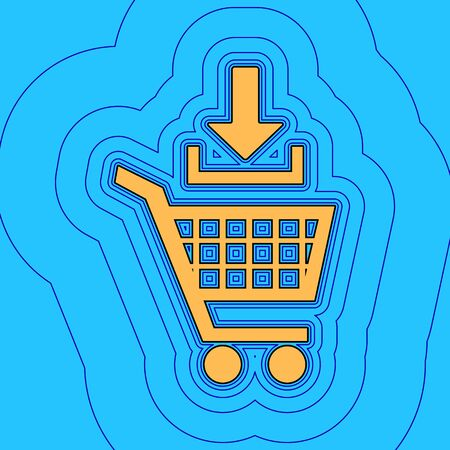 Add to Shopping cart sign. Vector. Sand color icon with black contour and equidistant blue contours like field at sky blue background. Like waves on map - island in ocean or sea.
