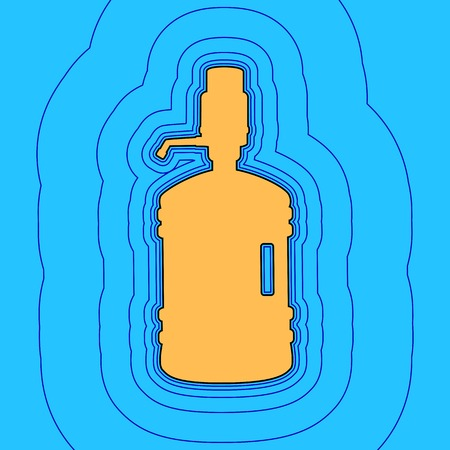 Plastic bottle silhouette with water and siphon. Vector. Sand color icon with black contour and equidistant blue contours like field at sky blue background. Like waves on map - island in ocean or sea.