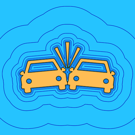 Crashed Cars sign. Sand color icon with black contour and equidistant blue contours like field at sky blue background. 向量圖像