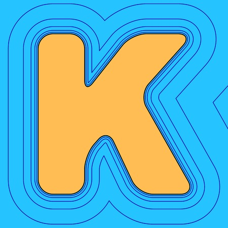Letter K sign design template element. Vector. Sand color icon with black contour and equidistant blue contours like field at sky blue background. Like waves on map - island in ocean or sea. Illusztráció