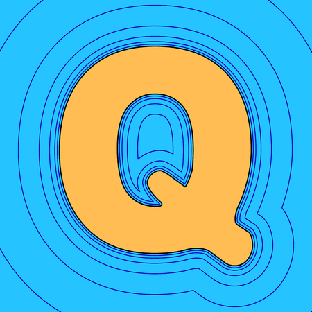 Letter Q sign design template element. Vector. Sand color icon with black contour and equidistant blue contours like field at sky blue background. Like waves on map - island in ocean or sea. Illustration