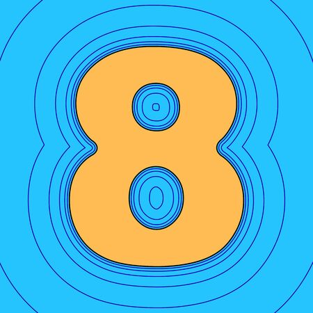 Number 8 sign design template element. . Sand color icon with black contour and equidistant blue contours like field at sky blue . Like waves on map - island in ocean or sea.