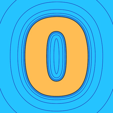 Number 0 sign design template element. Vector. Sand color icon with black contour and equidistant blue contours like field at sky blue background. Like waves on map - island in ocean or sea. Illustration