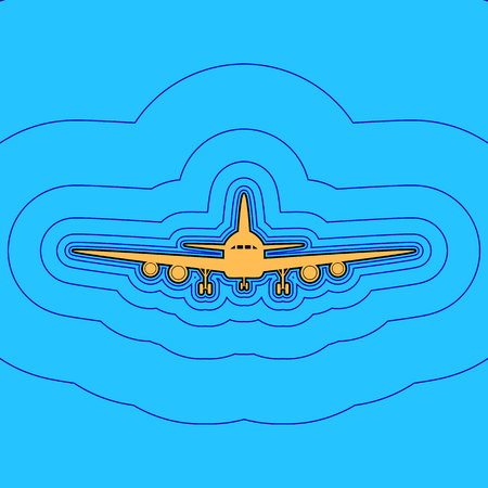 Flying Plane sign. Front view. Sand color icon with black contour and equidistant blue contours like field at sky blue background.