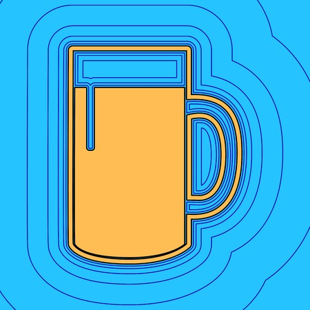 Beer glass sign. Sand color icon with black contour and equidistant blue contours like field at sky blue background.