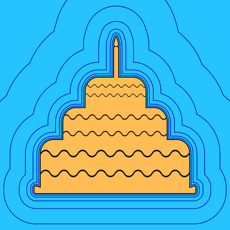 Cake with candle sign. Vector. Sand color icon with black contour and equidistant blue contours like field at sky blue background. Like waves on map - island in ocean or sea. 向量圖像