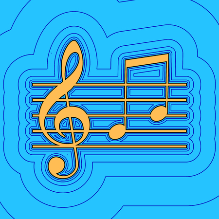 chiave di violino: Music violin clef sign. G-clef and notes G, H. Vector. Sand color icon with black contour and equidistant blue contours like field at sky blue background. Like waves on map - island in ocean or sea.