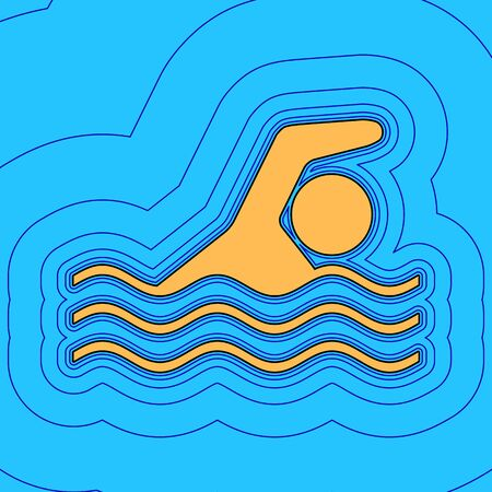 Swimming water sport sign. Vector. Sand color icon with black contour and equidistant blue contours like field at sky blue background. Like waves on map - island in ocean or sea.