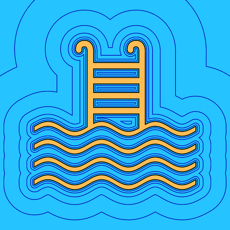 Swimming Pool sign. Vector. Sand color icon with black contour and equidistant blue contours like field at sky blue background. Like waves on map - island in ocean or sea.