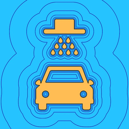 car wash: Car wash sign. Vector. Sand color icon with black contour and equidistant blue contours like field at sky blue background. Like waves on map - island in ocean or sea.