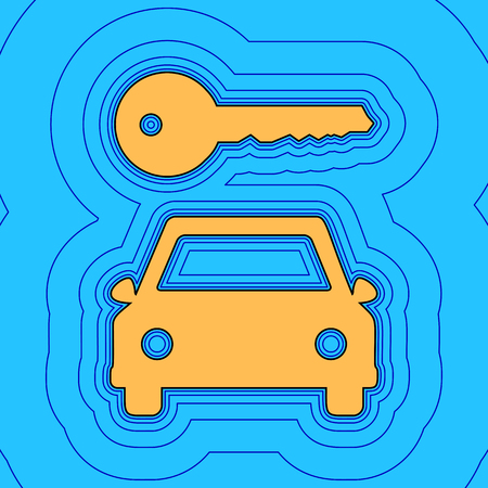 Car key simplistic sign. Vector. Sand color icon with black contour and equidistant blue contours like field at sky blue background. Like waves on map - island in ocean or sea.