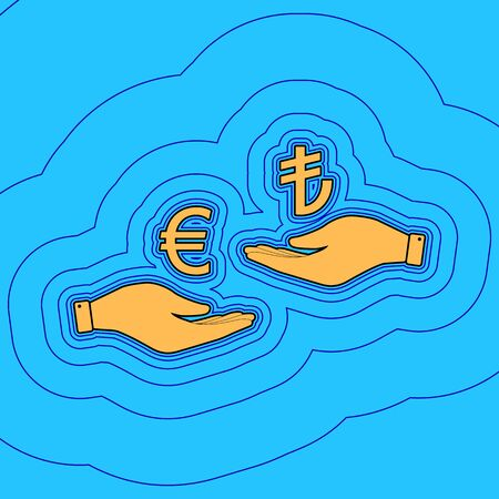 Currency exchange from hand to hand. Euro and Lira. Vector. Sand color icon with black contour and equidistant blue contours like field at sky blue background. Like waves on map - island in ocean or sea.