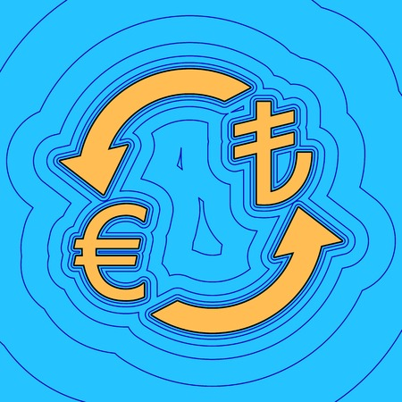 Currency exchange sign. Euro and Turkey Lira. Vector. Sand color icon with black contour and equidistant blue contours like field at sky blue background. Like waves on map - island in ocean or sea.