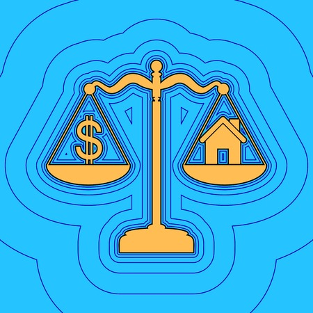 House and dollar symbol on scales. Vector. Sand color icon with black contour and equidistant blue contours like field at sky blue background. Like waves on map - island in ocean or sea. 向量圖像