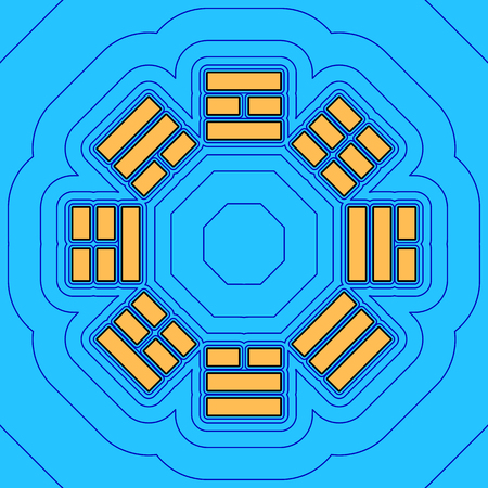 taiji: Bagua sign. Vector. Sand color icon with black contour and equidistant blue contours like field at sky blue background. Like waves on map - island in ocean or sea.