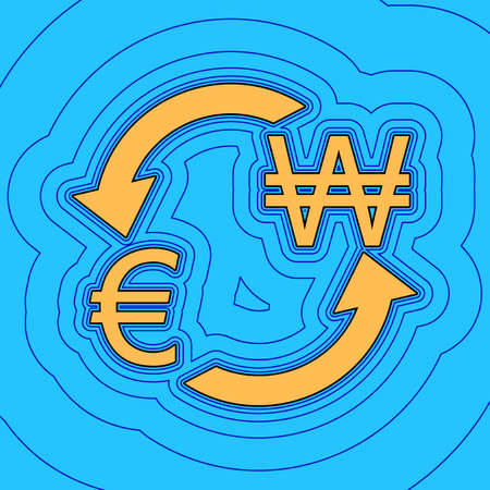 Currency exchange sign. Euro and South Korea Won. Vector. Sand color icon with black contour and equidistant blue contours like field at sky blue background. Like waves on map - island in ocean or sea. Illustration
