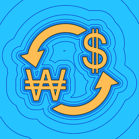 Currency exchange sign. South Korea Won and US Dollar. Vector. Sand color icon with black contour and equidistant blue contours like field at sky blue background. Like waves on map - island in ocean or sea. Illustration