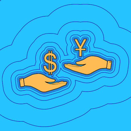 Currency exchange from hand to hand. Dollar and Yuan. Vector. Sand color icon with black contour and equidistant blue contours like field at sky blue background. Like waves on map - island in ocean or sea.