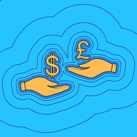 Currency exchange from hand to hand. Dollar and Pound. Vector. Sand color icon with black contour and equidistant blue contours like field at sky blue background. Like waves on map - island in ocean or sea.