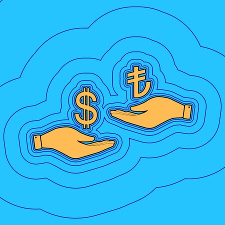 Currency exchange from hand to hand. Dollar and Turkey Lira. Vector. Sand color icon with black contour and equidistant blue contours like field at sky blue background. Like waves on map - island in ocean or sea.