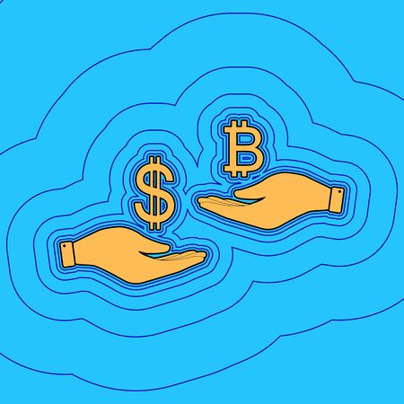 Currency exchange from hand to hand. Dollar and Bitcoin. Vector. Sand color icon with black contour and equidistant blue contours like field at sky blue background. Like waves on map - island in ocean or sea.