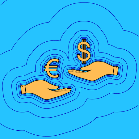 Currency exchange from hand to hand. Euro and Dollar. Vector. Sand color icon with black contour and equidistant blue contours like field at sky blue background. Like waves on map - island in ocean or sea. 向量圖像