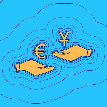Currency exchange from hand to hand. Euro and Yuan. Vector. Sand color icon with black contour and equidistant blue contours like field at sky blue background. Like waves on map - island in ocean or sea. 向量圖像