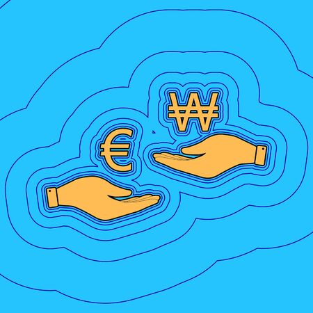 Currency exchange from hand to hand. Euro and Won. Vector. Sand color icon with black contour and equidistant blue contours like field at sky blue background. Like waves on map - island in ocean or sea.