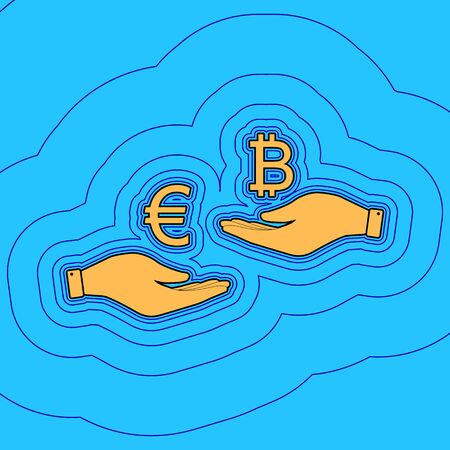 Currency exchange from hand to hand. Euro an Bitcoin. Vector. Sand color icon with black contour and equidistant blue contours like field at sky blue background. Like waves on map - island in ocean or sea. 向量圖像