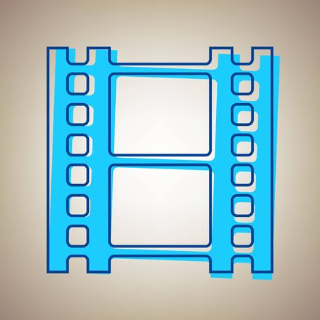 camera film: Reel of film sign. Vector. Sky blue icon with defected blue contour on beige background. Illustration