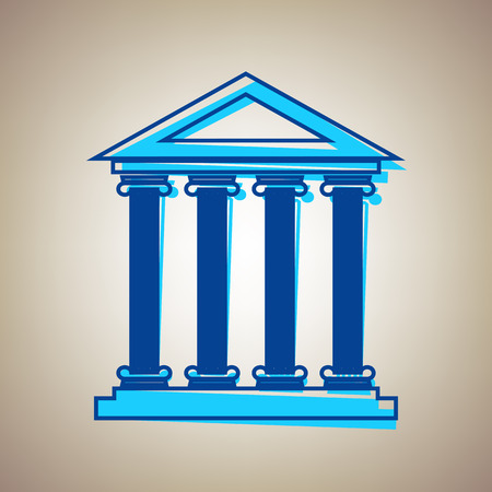 politic: Historical building illustration. Vector. Sky blue icon with defected blue contour on beige background.