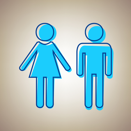 Male and female sign. Vector. Sky blue icon with defected blue contour on beige background.