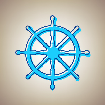 Ship wheel sign. Vector. Sky blue icon with defected blue contour on beige background.