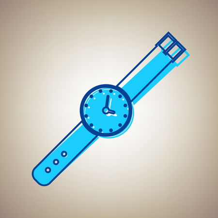 Watch sign illustration. Vector. Sky blue icon with defected blue contour on beige background. Illustration