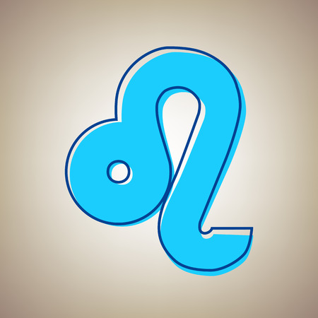 Leo sign illustration. Vector. Sky blue icon with defected blue contour on beige background.