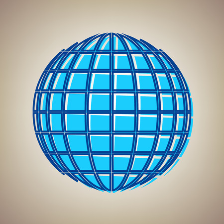 reflection: Earth Globe sign. Vector. Sky blue icon with defected blue contour on beige background.