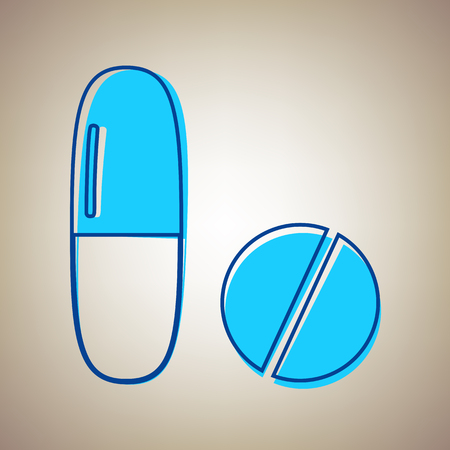 Medical pills sign. Vector. Sky blue icon with defected blue contour on beige background. Illustration